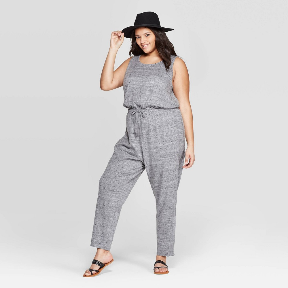 Women's Plus Size Sleeveless Scoop Neck Knit Jumpsuit - Universal Thread Gray 1X
