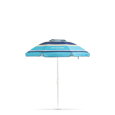 Outdoor Beach Umbrella with Silver Frame & Blue Turtle - Life is Good