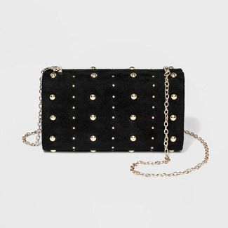 Estee & Lilly Pucker Minaudiere With Gold Studs Clutch - Black