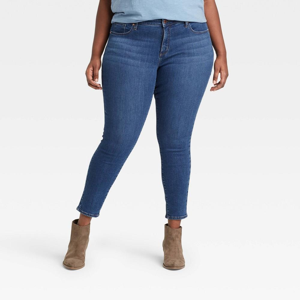 Women 39 S Plus Size Mid Rise Curvy Skinny Jeans Universal Thread 8482 Washed Indigo 16w