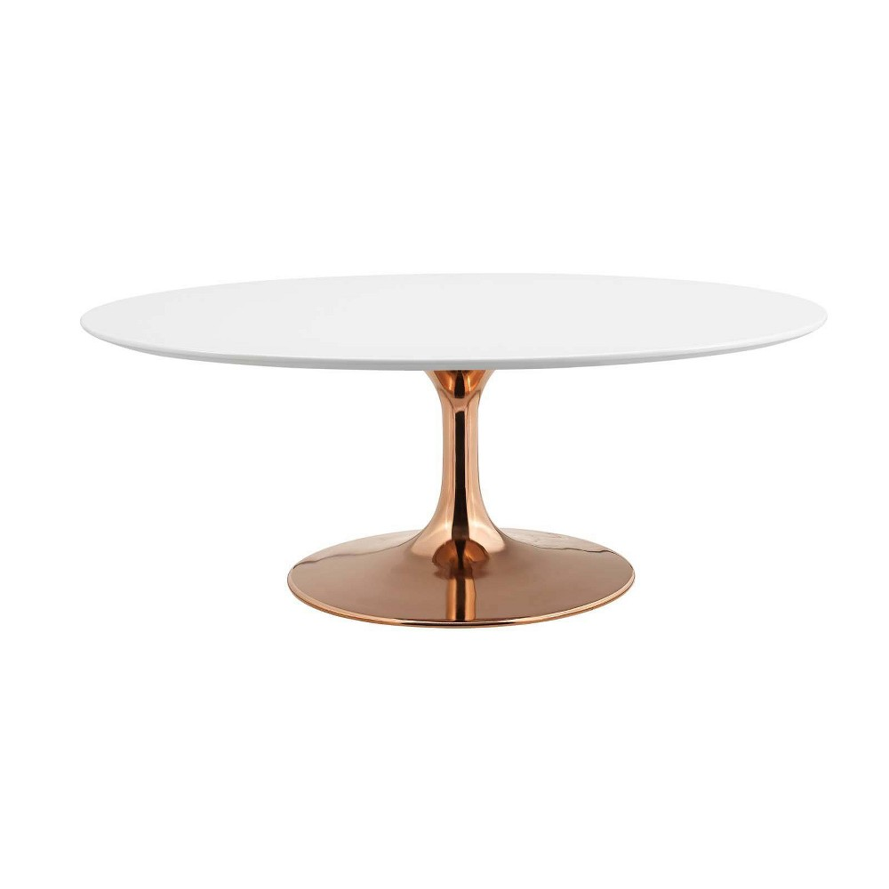 42 Lippa Oval Shaped Coffee Table Rose White - Modway