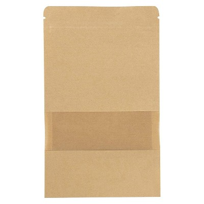 """50-Pack Kraft Reclosable Resealable Bag, 5.7-Oz Capacity, with Window, 6.3 x 8.6"""""""