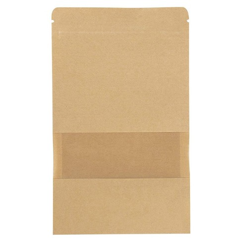 """50-Pack Kraft Reclosable Resealable Bag, 5.7-Oz Capacity, with Window, 6.3 x 8.6"""" - image 1 of 4"""