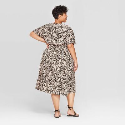 Animal print shirt dress plus size