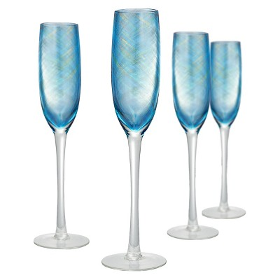Artland Misty 5oz Flutes - Set of 4 Aqua