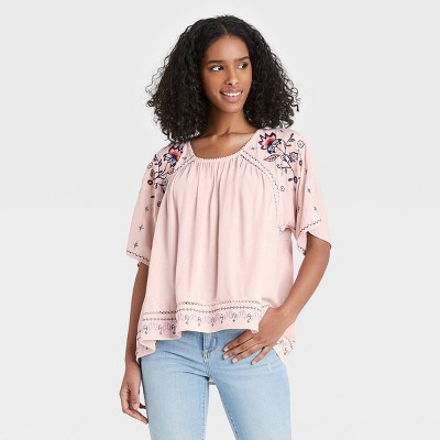 Women's Floral Print Scoop Neck Short Sleeve Top - Knox Rose™