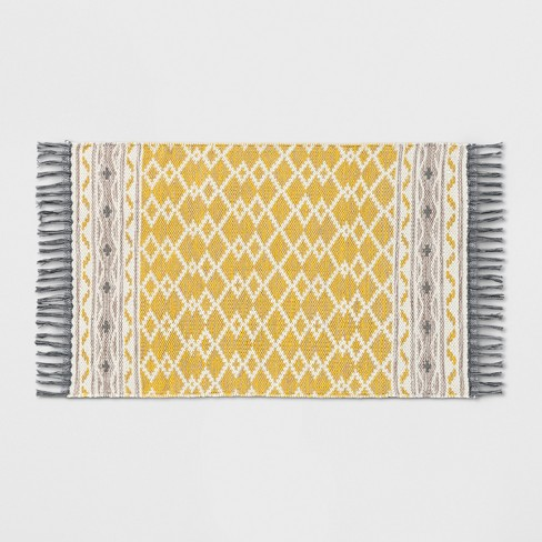 Yellow Abstract Woven Accent Rug With Gray Fringe 2 6 Quot X4