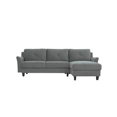 Hansen 3 Seat Sectional Sofa with Curved Arms Light Gray - Lifestyle Solutions