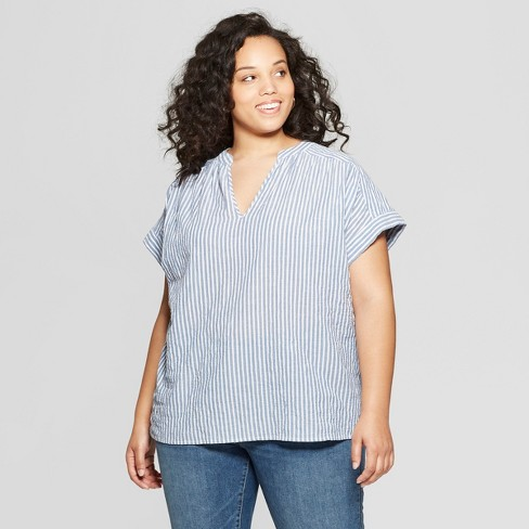 900f452d2bdcc Women s Plus Size Short Sleeve Shirt Blouse - Universal Thread™ Stripe    Target