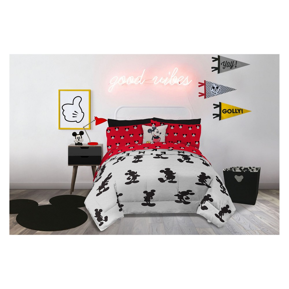 Disney Mickey Mouse Full/Queen Comforter Gray/Black, Black Gray