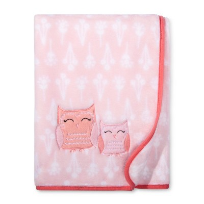 Plush Appliqued Baby Blanket Owls - Cloud Island™ Pink
