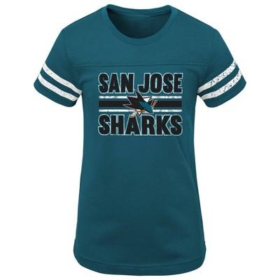 NHL San Jose Sharks Girls' Netminder Fashion T-Shirt - L