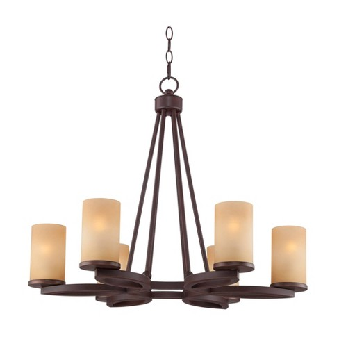 """Franklin Iron Works Bronze Round Chandelier 28"""" Wide 6-Light Farmhouse Rustic Amber Scavo Glass Dining Room House Foyer Kitchen - image 1 of 4"""