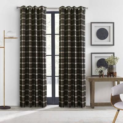 Murano Room Darkening Grommet Curtain Panel Brown - Thermalogic