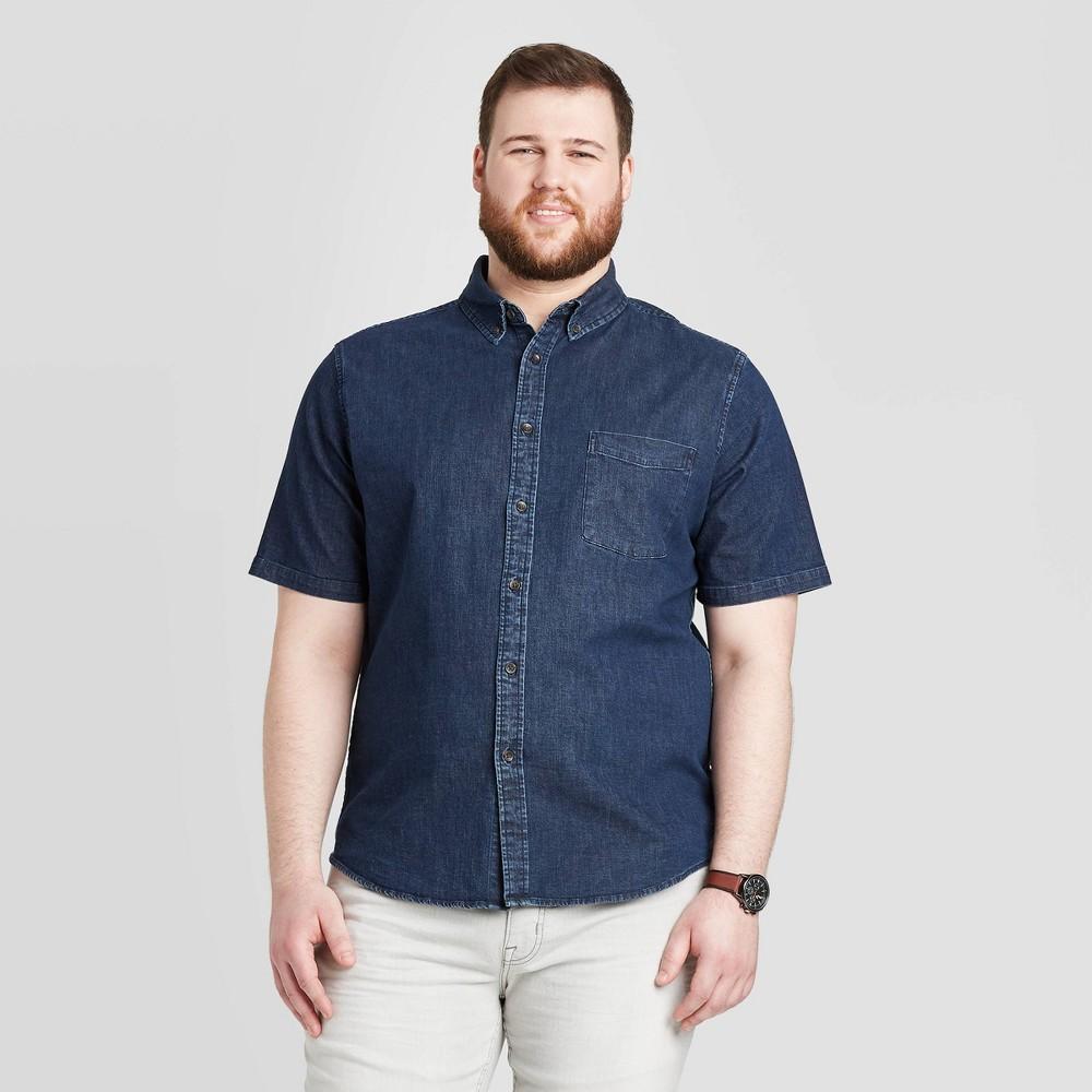 Men's Big & Tall Standard Fit Short Sleeve Denim Shirt - Goodfellow & Co Dark Wash 2XBT, Men's, Dark Blue was $19.99 now $12.0 (40.0% off)