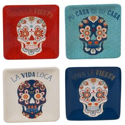 6  4pk Earthenware La Vida Canape Plates Blue - Certified International