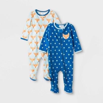 Baby Boys' 2pk Fox Print Fleece Sleep N' Play - Cloud Island™ Blue 0-3M