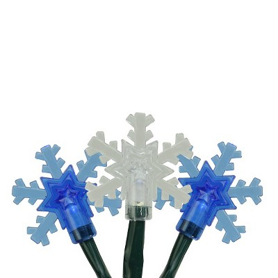 Northlight 10ct Battery Operated Snowflake LED Christmas Lights Blue - 3.8' Green Wire