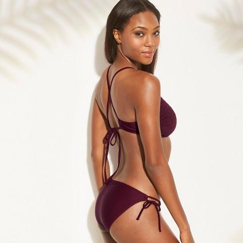 8a144ee716584 Women s Crochet High Neck Bikini Top - Xhilaration™ Black Cherry D DD Cup    Target