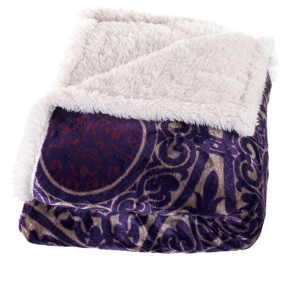 Purple Printed Soft Fleece Sherpa Throw - Trademark Global