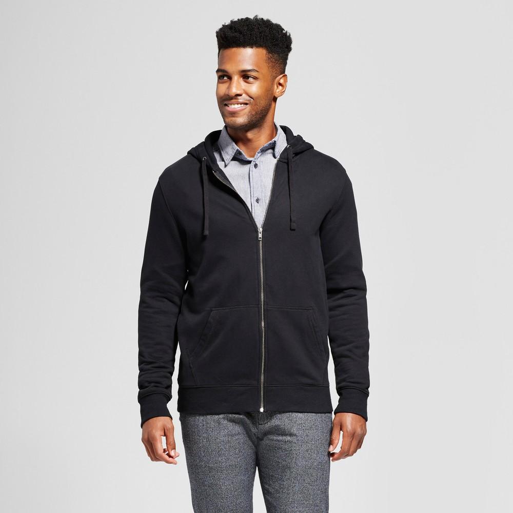 Men's Standard Fit Long Sleeve Hooded Fleece Sweatshirt - Goodfellow & Co Black S