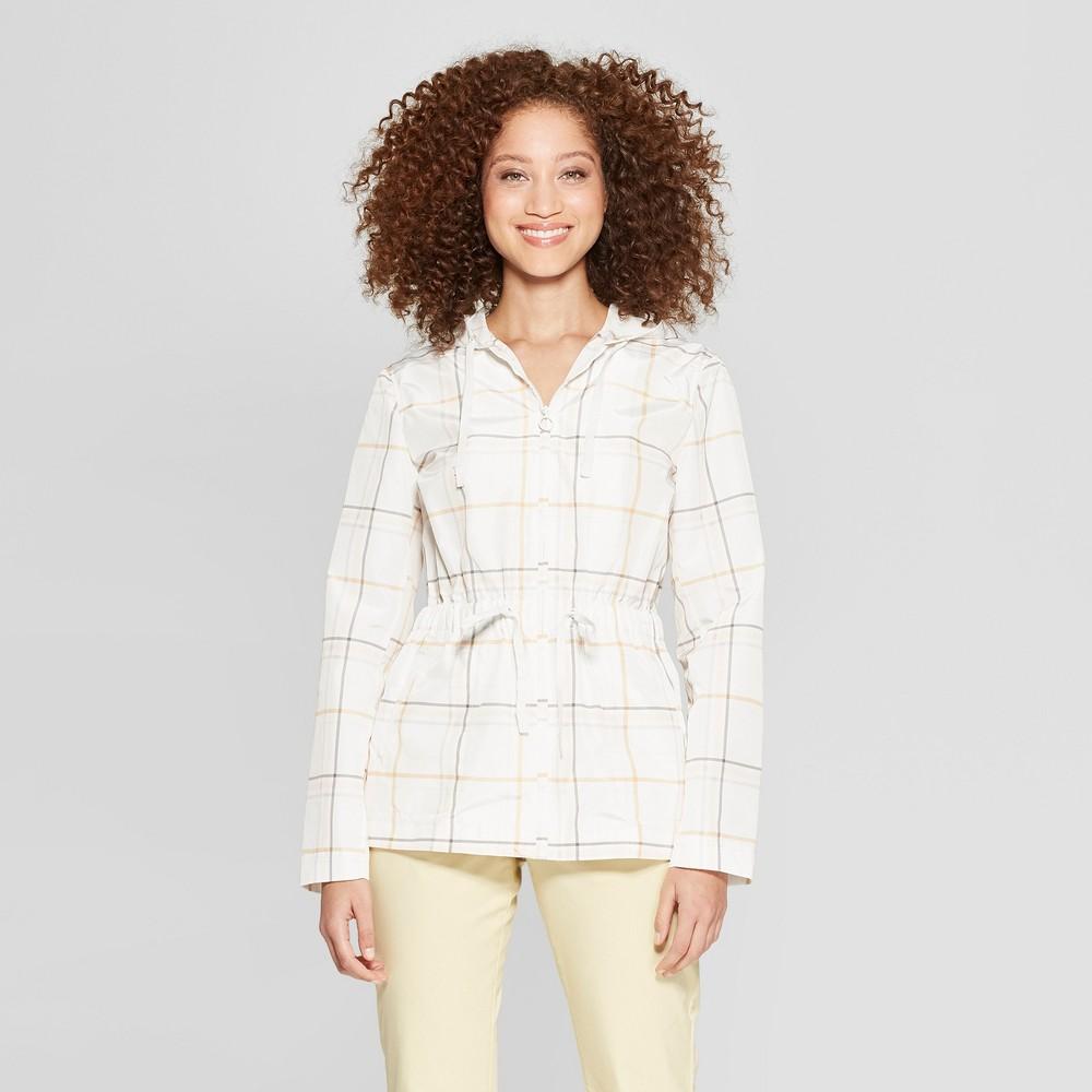 Women's Long Sleeve Plaid Anorak Jacket - A New Day Cream L, Beige