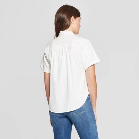 5a1cf3fb46e97 Women s Short Sleeve Camp Shirt - Universal Thread™ White   Target