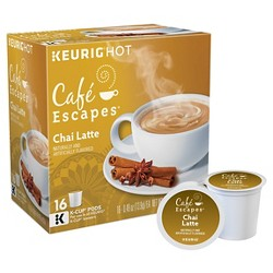 Caf Escapes Chai Latte Specialty Beverage - Keurig K-Cup Pods - 16ct