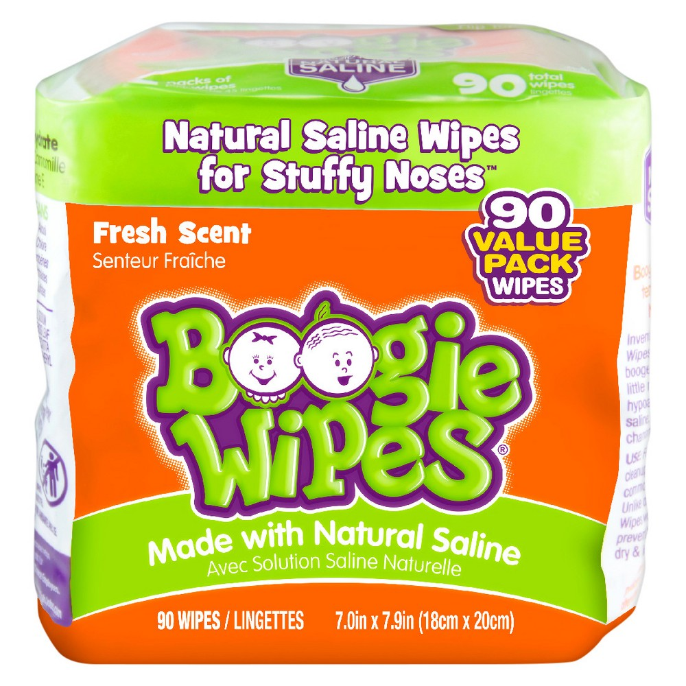 Boogie Wipes Saline Nose Wipes Fresh Scent 90ct