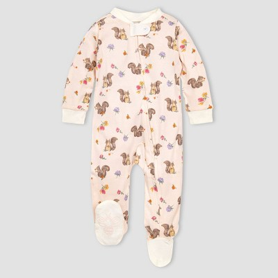 Burt's Bees Baby® Baby Girls' Organic Cotton Sharing Squirrels Sleep N' Play - Pink 0-3M