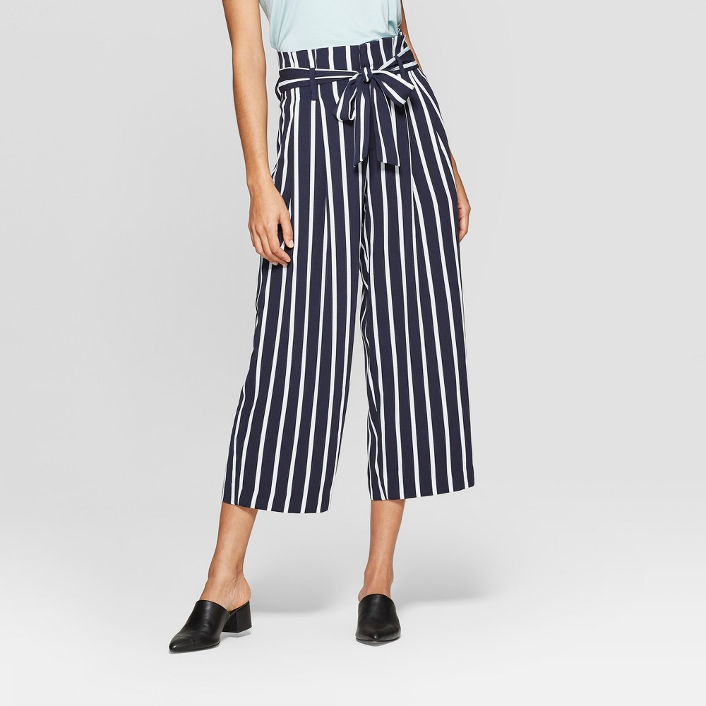 Women's Striped Wide Leg Paperbag Crop Pants - A New Day Navy/White 4, Blue