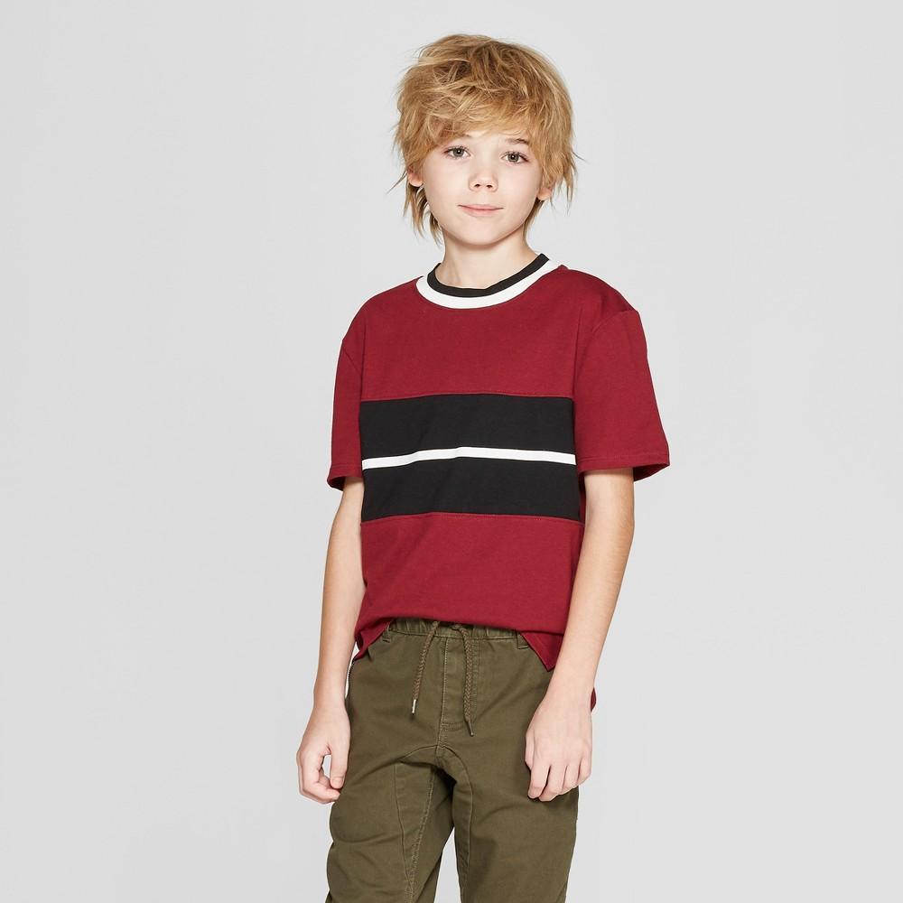 Boys' Short Sleeve Panel Split Hem T-Shirt - art class Red/Black XL