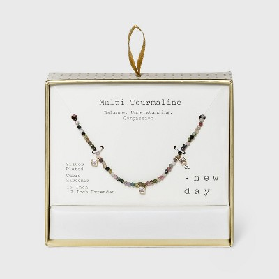 Silver Plated with Cubic Zirconia Beaded Necklace - A New Day™