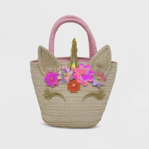 Girls' Straw Unicorn Handbag - Cat & Jack™ White - image 1 of 3