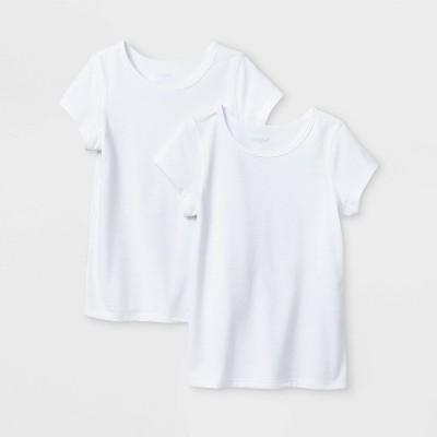 Toddler Girls' 2pk Adaptive Short Sleeve T-Shirt - Cat & Jack™ White