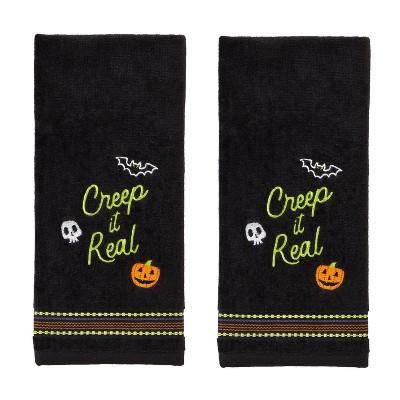 2pk Creep It Real Hand Towel Black - SKL Home