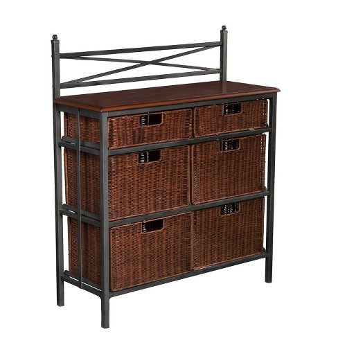 6 Drawer Storage Console Dark Oak - Aiden Lane - image 1 of 7