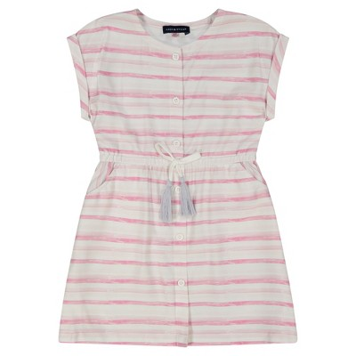 Andy & Evan  Toddler Water Color Striped Button Front Dress