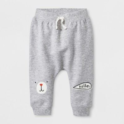 Baby Boys' Jogger Pants with Critter Face and  Hello  on Knee Patches - Cat & Jack™ Gray 3-6M