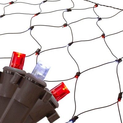 Northlight 4' x 6' Red and White Micro LED Net Style Christmas Lights, Brown Wire