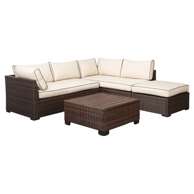 Loughran 4pc All Weather Wicker Patio Conversation Set   Brown/Ivory    Outdoor By Ashley