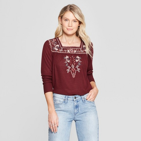 c859e4c86 Women's Floral Print Long Sleeve Embroidered Lace Rib Knit Blouse - Knox  Rose™ Burgundy