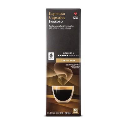 Festoso Lungo Pour Espresso Dark Roast - Single Serve Espresso Capsules - 10ct - Archer Farms™