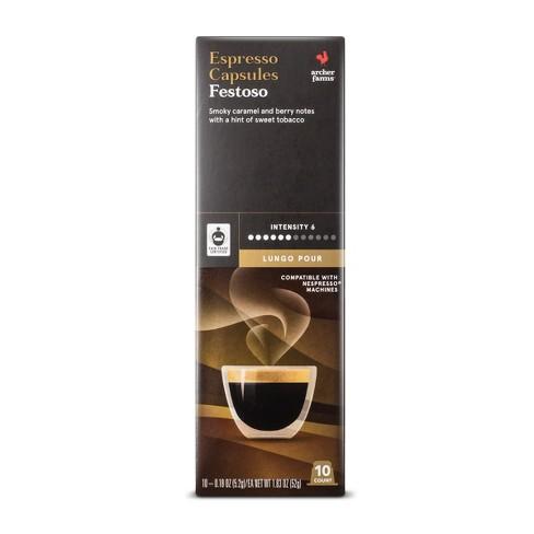 Festoso Lungo Pour Espresso Dark Roast - Single Serve Espresso Capsules - 10ct - Archer Farms™ - image 1 of 3