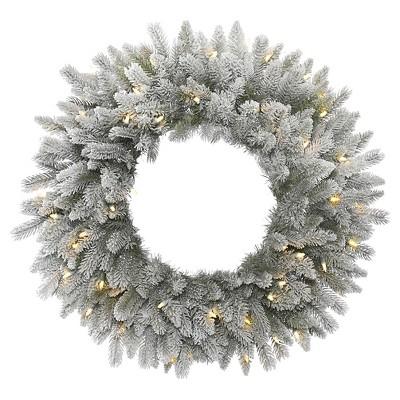 24  Pre-Lit Christmas Sable Wreath Flocked - White LED Lights
