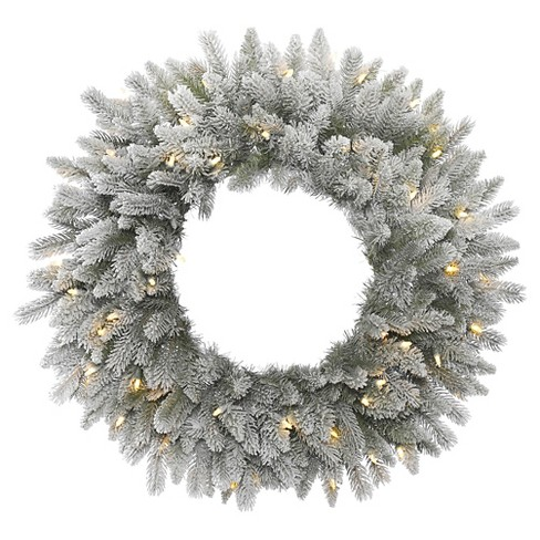 "36"" Christmas Frost Sable Wreath Flocked - White LED Lights - image 1 of 1"