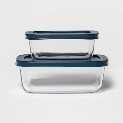 3 Cup & 2 Cup Rectangular Food Storage Container Set Navy - Room Essentials™