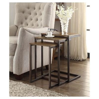Charmant Caroline Nesting Table Set   Harvest Oak/Aged Iron   Carolina Chair And  Table