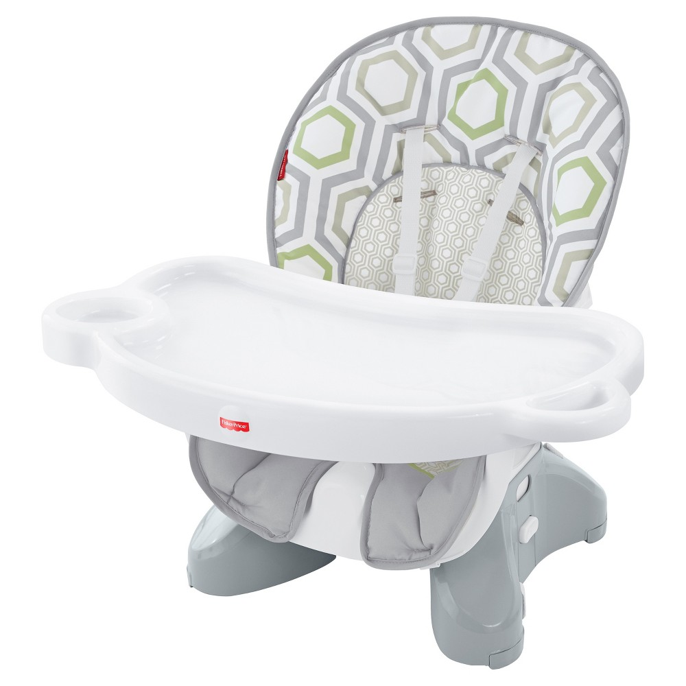 Fisher-Price Baby Geometric Print Hook-On High Chair Light Gray/White/Meadow Green, Geo Meadow