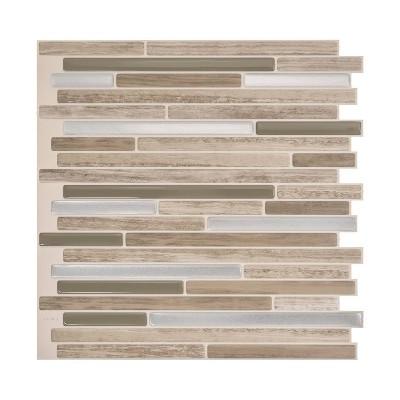 "Smart Tiles 3D Peel and Stick Backsplash 4 Sheets of 9.88"" x 9.70"" Kitchen and Bathroom Wallpaper Capri Taupe"